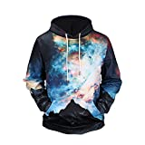 GOVOW Hooded Sweatshirt Men Autumn Winter Printed Long Sleeve Tops Blouse(XXL,Black )