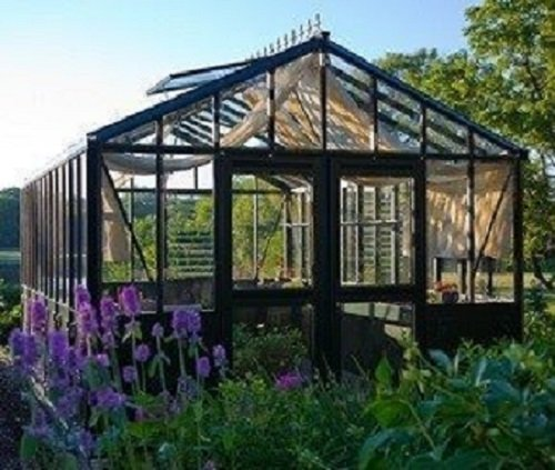 (Retro Royal Victorian VI 34 greenhouse with decorative panels and narrow glass )