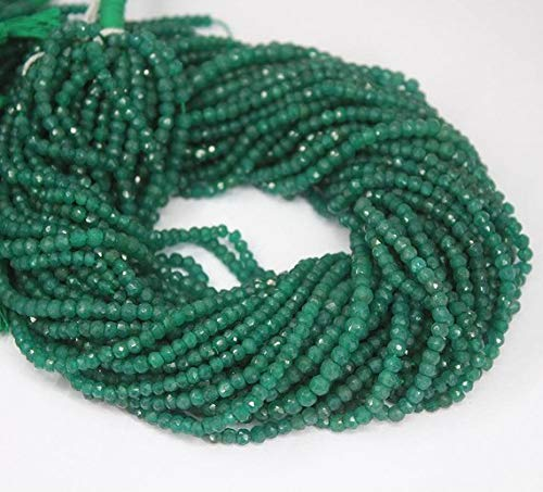 1964 Natural - Natural Gems Jewelry Green Jade Micro Faceted Loose Rondelle Gemstone Craft Beads Strand 13