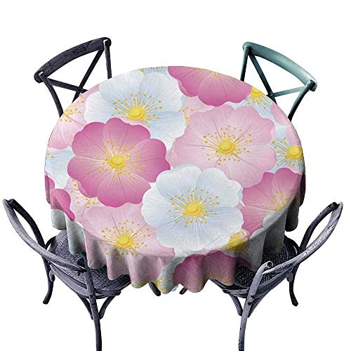 (Godves Anti-Fading Tablecloths Seamless Pattern of Color Flowers Wild Dog-Rose Table Cover for Kitchen Dinning Tabletop Decoratio 55