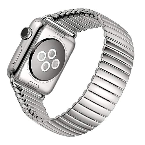 Price comparison product image WeWin Compatible with Apple Watch Band 38mm 40mm,  Silver Elastic Stainless Steel Watch Band Compatible with iWatch Series 4 3 2 1,  Replacement Strap Bracelet Wristband for Women Men (38mm 40mm)