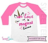 Personalized Unicorn Shirt for Valentine's Day Girl Pink Raglan Shirt Gift for Girl