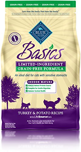 Basic Buffalo (BLUE Basics Limited Ingredient Diet Mature Indoor Grain Free Turkey & Potato  Dry Cat Food 5-lb)