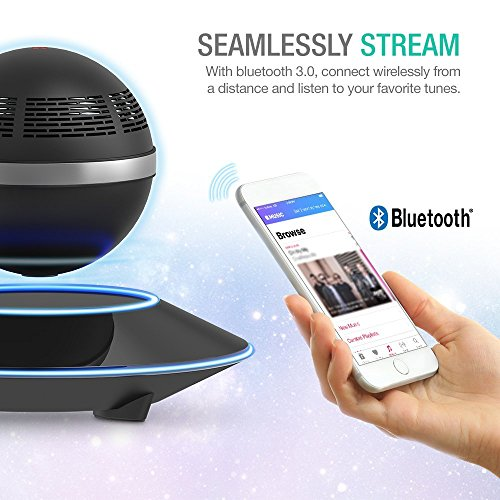 Levitating Bluetooth Speaker, ZVOLTZ Portable Floating Wireless Speaker with Bluetooth 4.0, 360 Degree Rotation, Built-in Microphone, One Touch Control for Bluetooth Connected Devices - Matte Black by ZVOLTZ (Image #1)
