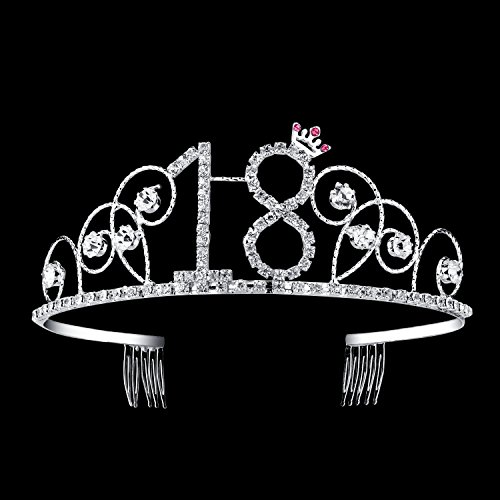 Tiaras And Crowns (BABEYOND Crystal Tiara Birthday Crown Princess Crown Hair Accessories Silver Diamante Happy 18th Birthday (18 Birth))
