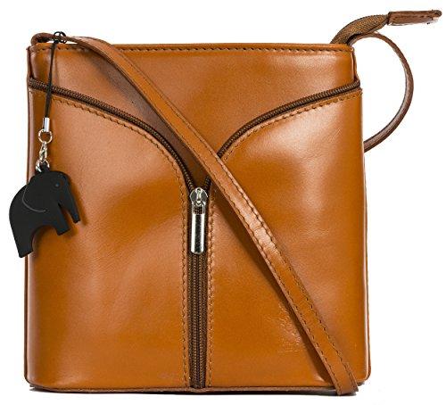 LIATALIA Mini Italian Leather Cross-Body Shoulder Bag with a Branded Protective Storage Bag and Charm - Alice Tan (Cognac) - Plain