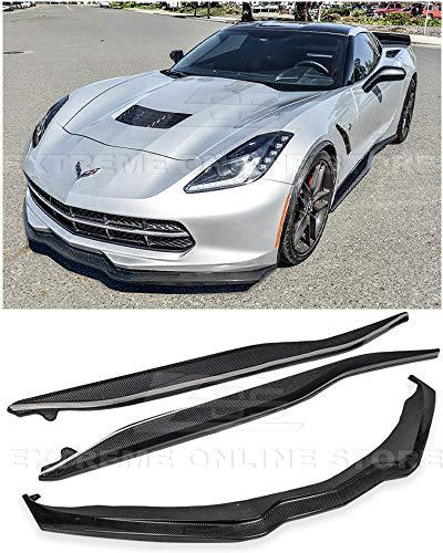 Replacement For 2014-Present Corvette C7 | Z06 Stage 2 CARBON FIBER Front Bumper Lower Lip Splitter & Side Skirts Rocker Panel Pair