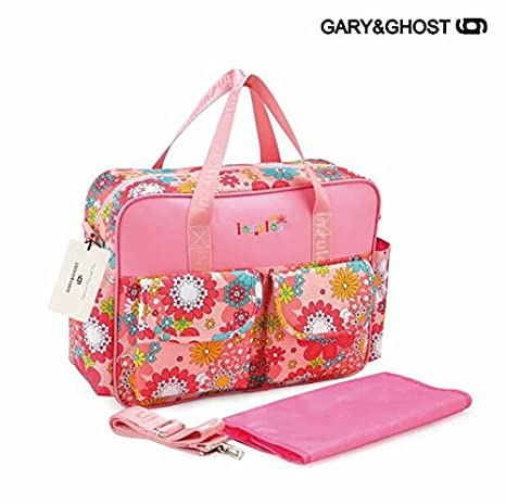 GARY&GHOST-T8064-Impermeable Floral Bolso Cambiador Bolsa Maternal a Todos, 39 x 12,50 x 32 CM, Rosa y Flores