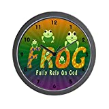 CafePress – Frog Fully Rely On God Wall Clock – Unique Decorative 10″ Wall Clock Review