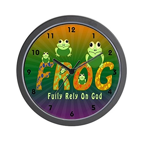 God Wall Clock - CafePress - Frog Fully Rely On God Wall Clock - Unique Decorative 10