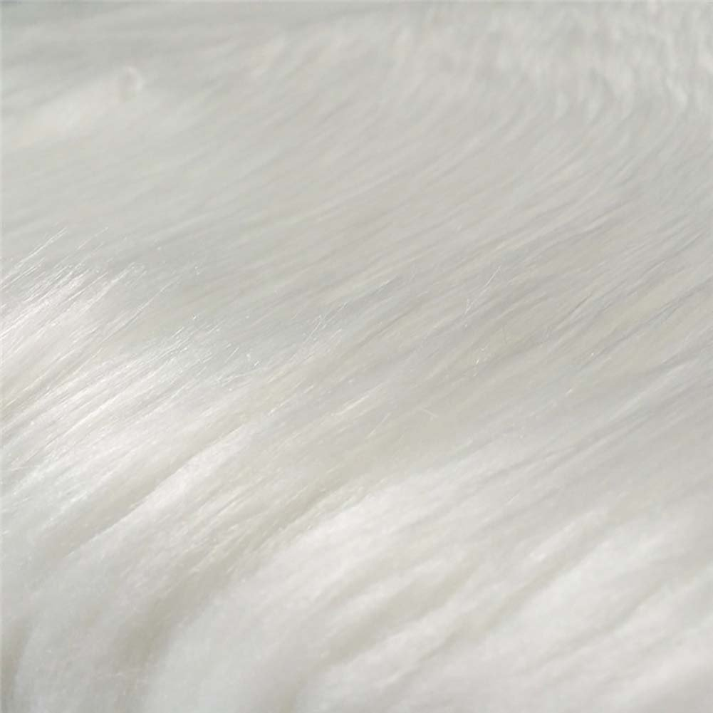 Cuteshower Round Faux Fur Sheepskin Rugs Soft Plush seat Cover Cushion Pad for Chair Living /& Bedroom Sofa White 19.7 x 19.7