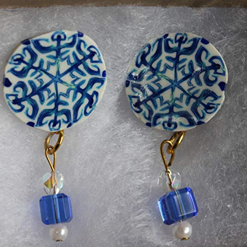 - Polymer clay cane work earrings on gold tone hypo-allergenic posts