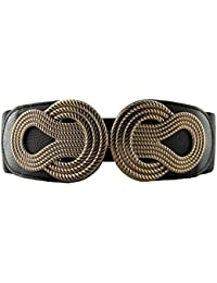 Retro Wide Mental Interlock Buckle Womens Elastic Waist Belt Cinch