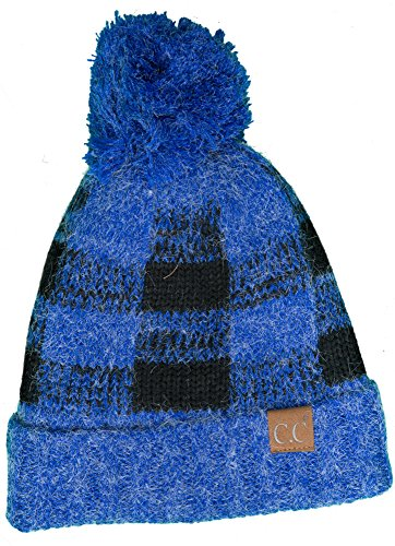 Funky Junque H-199CP-5706 Buffalo Check Hat w/Royal Blue Pom- Royal Blue/Black from Funky Junque
