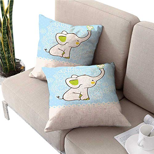 warmfamily Kidsikea Pillow coversElephant Invitation Flower Heart Cartoon Doodle Art Flower Retro Pattern Animals Themed Printfloral Pillow Covers 16
