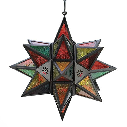 Smart Living Company Gifts & Decor Moroccan Style Star Shaped Candle Lantern, Metal Glass