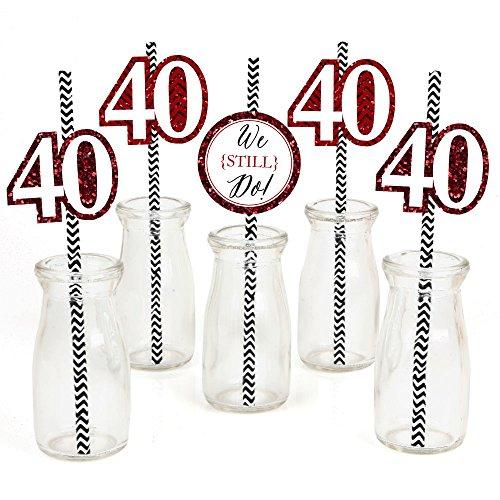 40th Anniversary Set - We Still Do Paper Straw Decor - 40th Wedding Anniversary Party Striped Decorative Straws - Set of 24