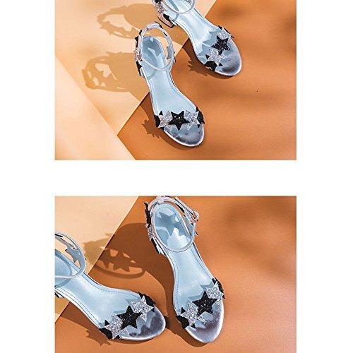 jp Peep Banda 23cm uk Alto Plata 5 Estrella Jianxin Cuero Eu De Tamaño Femeninos La 5 Sandalias Zapatos Palabra Tacón us 3 color Plata 5 toe 36 Lentejuelas Bfn4Pfxq0