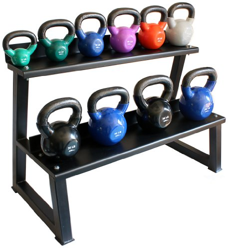 Ader Vinyl Kettlebell Set w/ Rack, Mat & DVD- (5-50 Lb), Great Gift! by Ader Sporting Goods
