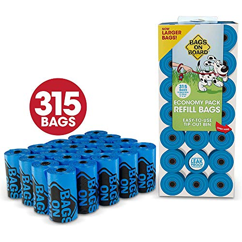 - Bags On Board Dog Poop Bags | Strong, Leak Proof Dog Waste Bags | 9 x14 Inches, 315 Blue Bags