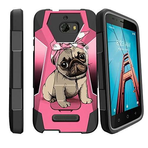 MINITUTLE Compatible with CoolPad Defiant [Hybrid Case w/Pinup Pug Pupper Phone Case] Protective Case w/Stand Bowtie Pug