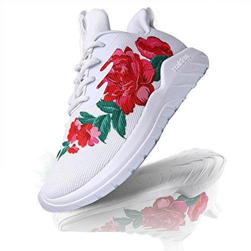 Hommes Soulsfeng Femmes Chaussures De Sport Blanches Et Noires Lacer Vaporisez Paresseux Tissu Mesh Respirant Amortisseur (39)