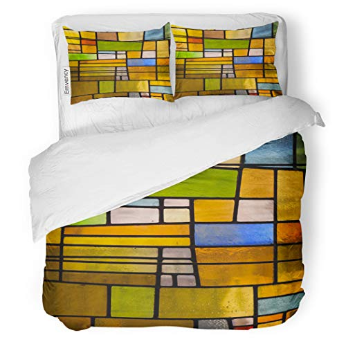 (SanChic Duvet Cover Set Green Multicolored Stained Glass Church Window Portrait Orientation Decorative Bedding Set with 2 Pillow Cases King Size)