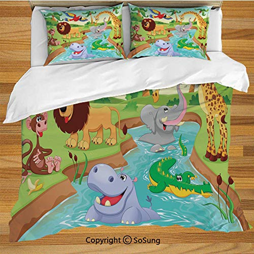 - Kids Decor King Size Bedding Duvet Cover Set,Cartoon Safari African Animals Swimming in The Lake Elephant Lions and Giraffe Art Decorative 3 Piece Bedding Set with 2 Pillow Shams,Multi