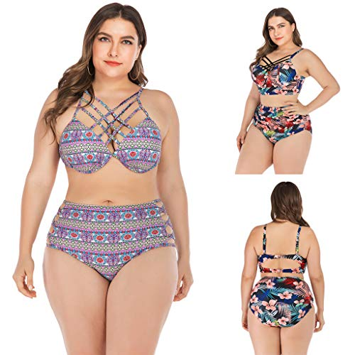 Excursion Sports Women's Two Pieces Halter Tankini Swimsuits, Plus Size Sexy Off Shoulder Backless Push Up Padded Swimwear Bathing Suits