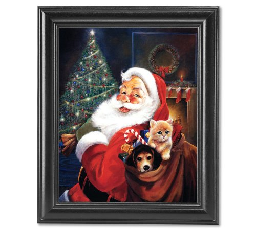 Santa Clause Art (St Nick Santa Clause Christmas Cat And Dog Wall Picture Framed Art Print)