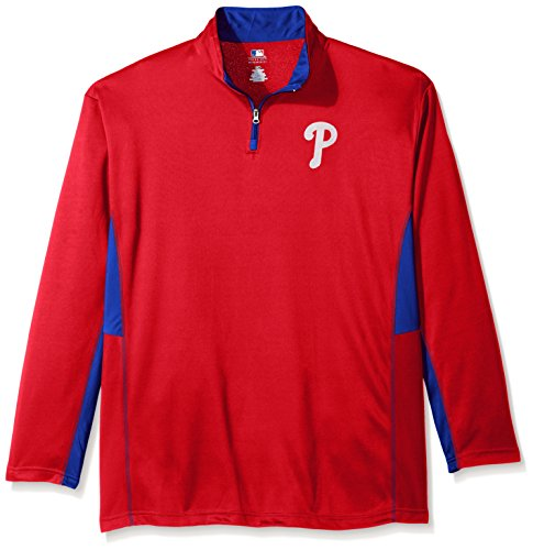 MLB Philadelphia Phillies Men's Long Sleeved Quarter Zip Poly Jersey with Logo Embroided, 3X, Red