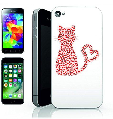 Smartphone Case animale domestico del gattino Kittie di amore del cuore di Miao del gatto del gatto di coda di cuori rossi di Estratto di arte per Apple Iphone 4/4S, 5/5S, 5C, 6/6S, 7& Samsung Gal