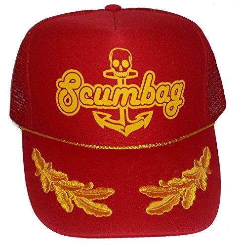 (ThatsRad Red Scumbag Mesh Snapback Trucker Hat Cap Anchor Gold Leaf Captains)