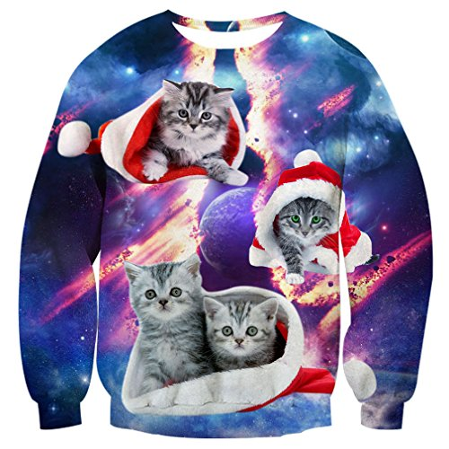 RAISEVERN Unisex Ugly Christmas Cat Cosmic fracture Print Pullover Sweater Sweatshirt, 2017 Style Christmas Cat 3, XX-Large