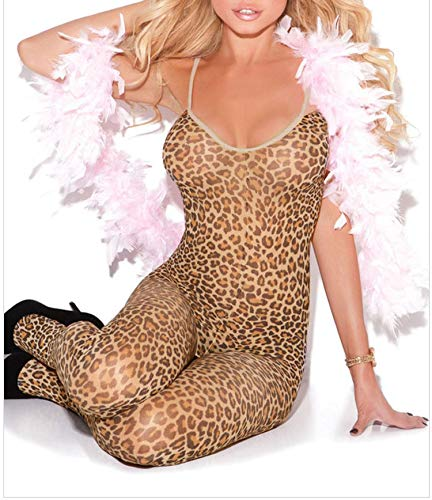 Sling Sleeveless High Elastic Leopard Print Sexy Hot Onesies One-Piece Socks Pajamas 79978,Leopard Print,One Size