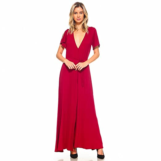 3de4a407112 Isaac Liev Women's Cold Shoulder Cap Sleeve Maxi Dress (Burgundy, X-Large)  at Amazon Women's Clothing store: