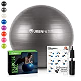 URBNFit Exercise Ball (65 cm) for Stability & Yoga - Workout Guide Incuded - Professional Quality (Silver)