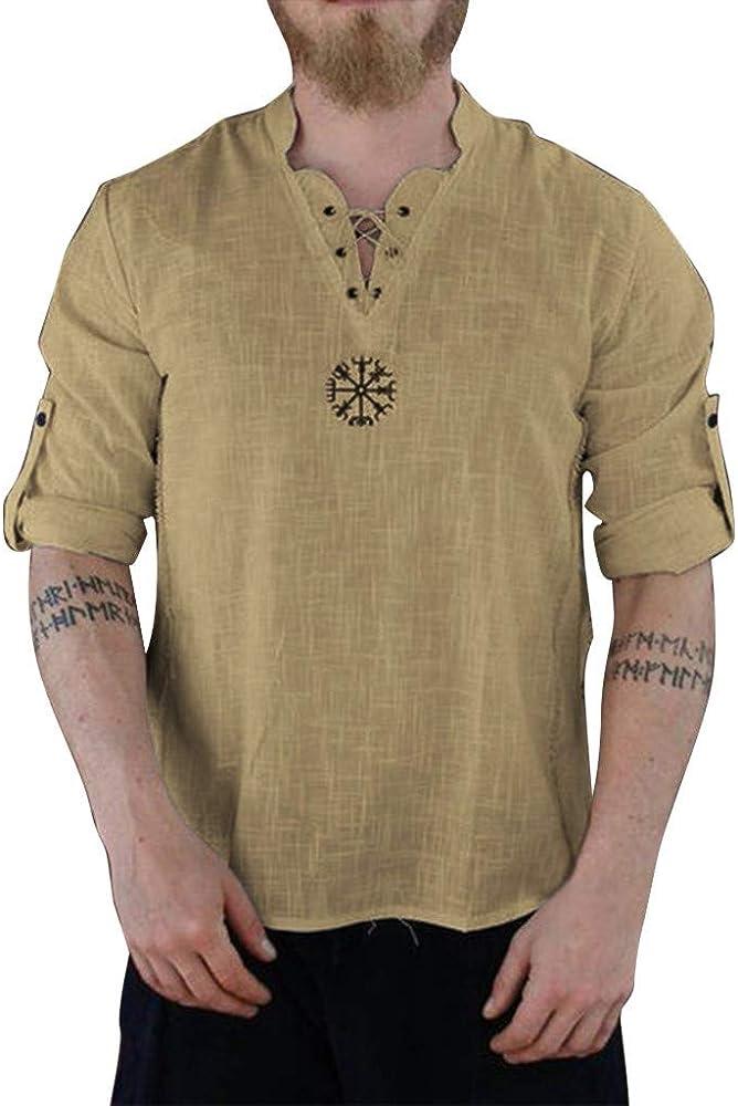 URIBAKE Camisetas de Henley para Hombre, Manga enrollada, Cuello con Cordones, cómodas, de Lino - Caqui - XX-Large: Amazon.es: Ropa y accesorios