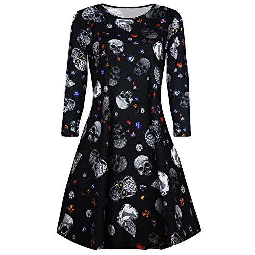 Blood Halloween Long SLE O-Neck Costume ies Smock Flared Swing Dress Daily,Casual,M,United -