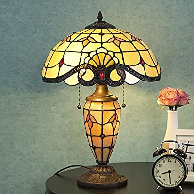 """Cloud Mountain Tiffany Style 14.25"""" Lampshade Table Lamp Victorian Double Lit Desk Lamp Stained Glass Home Decor Lighting"""