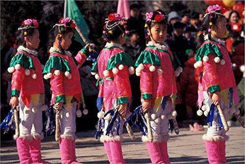 Children's Performance Celebrating Chinese New Year, Beijing, China by Keren Su/Danita Delimont Laminated Art Print, 39 x 26 inches