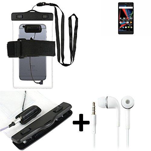 Estuche estanco al agua con entrada de auriculares para Archos 55 Diamond Selfie Lite + auricular incluido, transparente | Trotar bolsa de playa al aire libre caja brazalete del teléfono caso de cásca