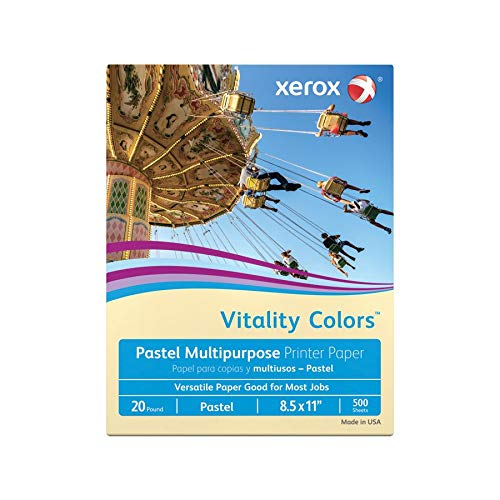 Xerox Multipurpose Colored Paper, 8 1/2in. x 11in., 20 Lb., Ivory, Ream Of 500 Sheets