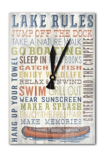 Lake Rules – Rustic Typography (Acrylic Wall Clock) For Sale