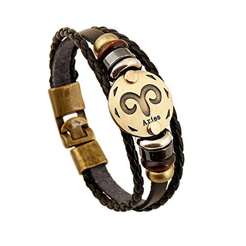 Price comparison product image European and American trade retro leather bracelet bracelet twelve constellations Aries Men Alloy Woven Bracelet