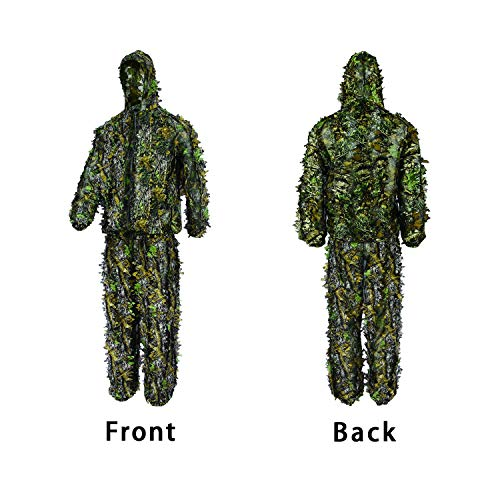 - Light Weight 3D Leafy Ghillie Suit Full Front Zipper Design Camouflage Hunting Suit with Hooded Camo Jacket & Pant XLL Size Breathable