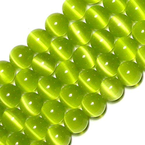 GEM-Inside Cat Eye Gemstone Loose Beads 10mm Round Green Crystal Energy Stone Power Beads for Jewelry Making 14 inch