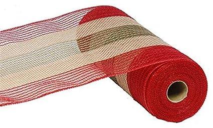 10 Inch x 30 Feet Christmas Deco Poly Jute Mesh Ribbon (Natural Brown Red Moss Green Cotton Stripe)