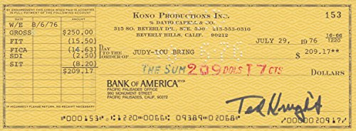 TED KNIGHT (Caddyshack) signed bank check