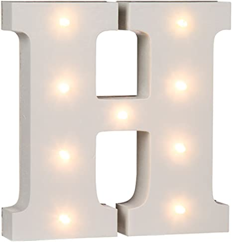 Letter D White Wooden Illuminated Letters and Numbers 16 cm Complete Alphabet